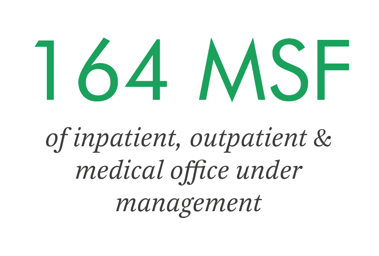 164 MSF of inpatient, outpatient & medical office under management